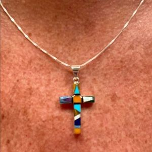 Sterling Silver Inlaid Stones Cross w/ 18 in chain